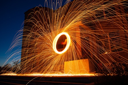 amazing fire show, spinning fire, bright sparks in the night, Steele wool photo,