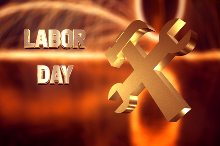 Labor day banner, Golden text and a symbol of working, 3d