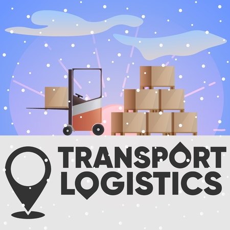 Logo of the logistics company. Destination. Unloading supplies, electric loader at sunset,