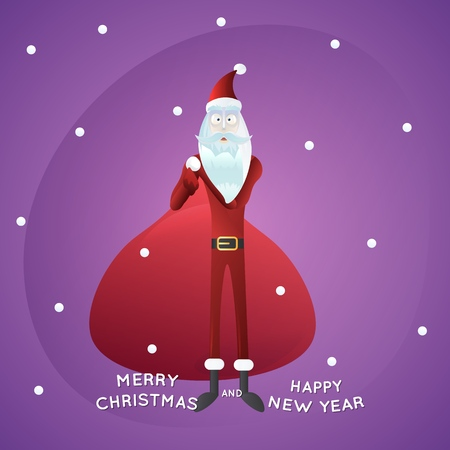Funny Santa Claus with big bag, snowfall on background, merry Christmas and happy new year