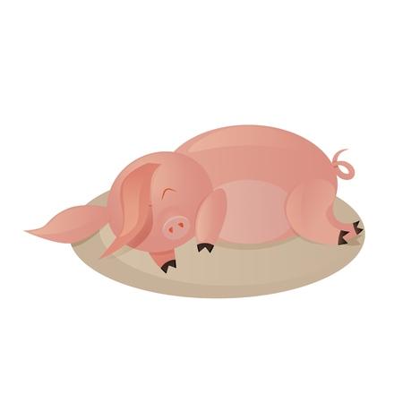lazy pig, little piggy sleeping on the rug, vector illustration,