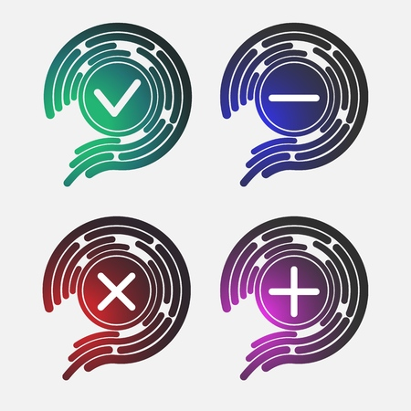 biometric icon protection, cybersecurity Icon, vector digital key,