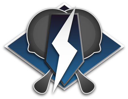 Logo for team E Sport, a symbol of the frying pan and lightning on a blue background Stok Fotoğraf