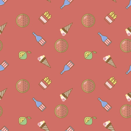 Colorful seamless summer pattern with elements such as watermelon, ice cream, bottle, French fries, lemon. Fashion print design, vector illustration,