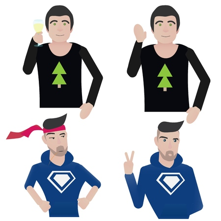 character set, simple cartoon character, flat color Vector icon