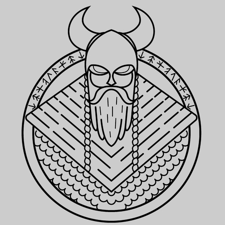 Viking of lines, warrior from the North, formidable warrior in helmet with horns, pattern for laser cutting, stencil for embossing on leather products, pattern for tattoo, Ilustração