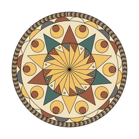 Round Mandala Pattern. Abstract design vector circle floral ornament, Ilustração