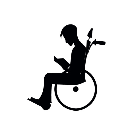 Silhouette of a paralyzed person in a wheelchair, post-traumatic period after spinal injury,