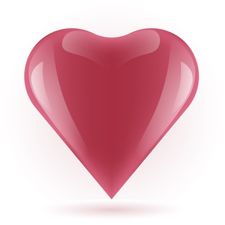 red heart on white background, Vector illustration of beautiful red glossy heart shape, happy Valentines day,