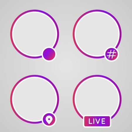 Set of icons for storis, Hashtag history of streaming video. Colorful gradient frame for photo. Social media icon avatar frame