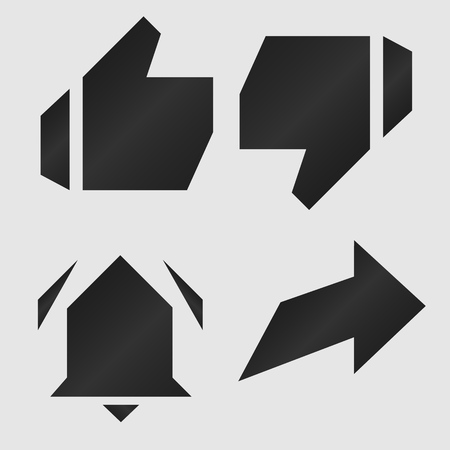 Set of icons for channel in dark style, symbols of social networks in geometric style