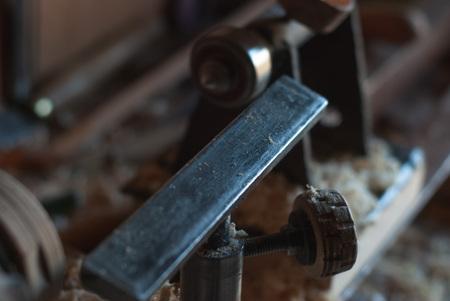 Close-up lathe at rest, details of old vintage lathe, Imagens