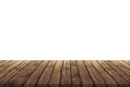 Worn wooden table for advertising and presentation of your goods, wooden table on white background