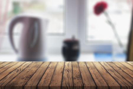 old wooden table with blurred background room, Imagens