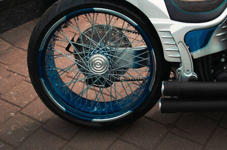 American custom motorcycle close-up, rear wheel