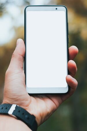 hand holding a blank smartphone screen. phone on the background of autumn Park,