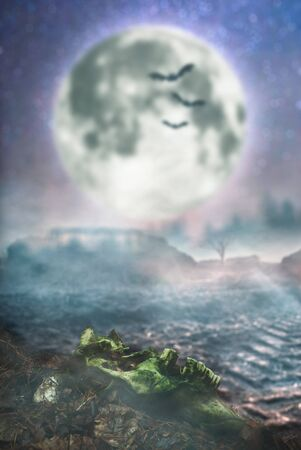 Halloween landscape with full moon, advertising background for Halloween Stockfoto