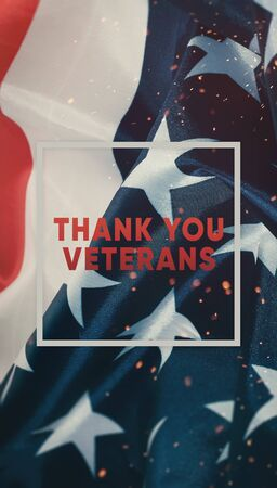 text of gratitude to veterans in a frame on the background of the flag of the United States of America. Template for social networks veterans day Stok Fotoğraf
