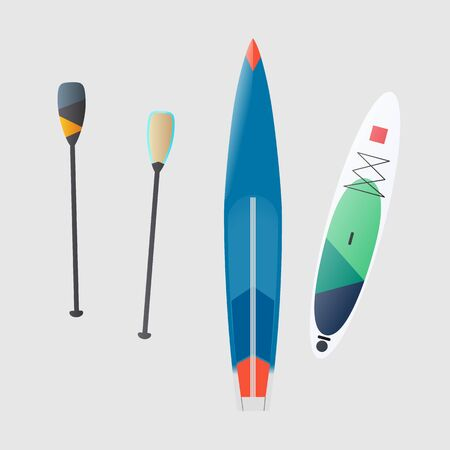 vector illustration of an inflatable and rigid Board for standing rowing, paddle vector