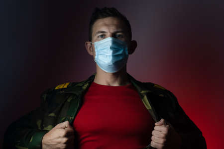 super hero military in a medical mask,