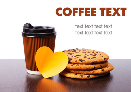 paper cup of coffee and chocolate cookies with sticker heart isolated  on white photo