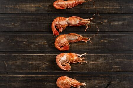 Delicious large shrimp, tiger and Botan. Top view, you can make a background for a cookbook or recipes