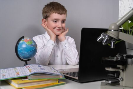 child distance learning school, self-isolation stay home to learn little boy