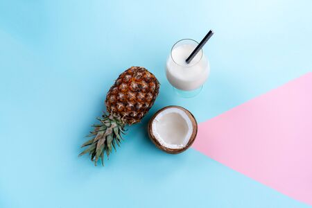 cocktail Pina colada on a bright background for a leaflet top view