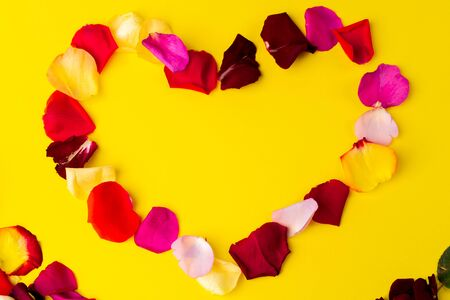 rose flower petals on a bright background on top heart Фото со стока