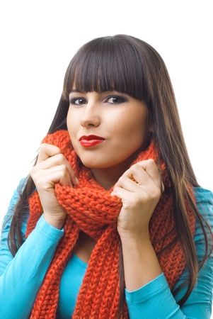 brunette girl with scarf Stock Photo