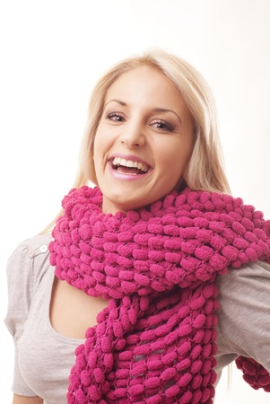 blonde girl with scarf