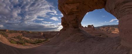 Sunrise around Delicate Arch, Moab, Arches National Park, Utah, United States of America Stock Photo