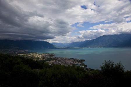 Clouds over Lake Geneva Stock Photo