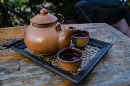 mat like: Teapot and cups on table Stock Photo