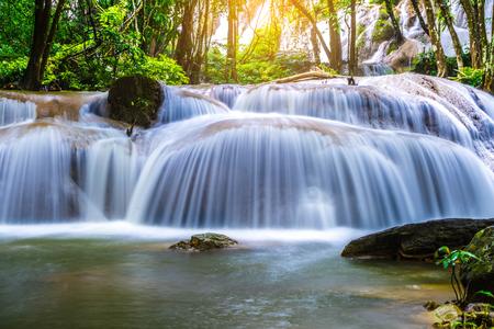 Pha Tat Waterfall,Forest stream waterfall with sunlight in khuean srinagarindra national park,Thailand. Stock Photo