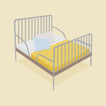 blankets: Bed with pillows and blankets set with yellow background Illustration