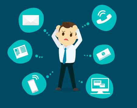 ploblem: Businessman stress pressure, business mental issues, concept vector icons with pictogram computer,money,news,telephone call,e-mail. Pressure mental and depression Illustration