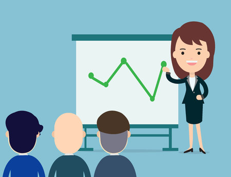 Business woman presents with board in seminar. Group office employee meeting on a management,teamwork training. Flat cartoon vector illustration.