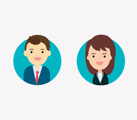 Flat vector businessman and businesswoman characters. Vector avatars profile picture to get job. Smiling happy people. Happy emotions. Vector portraits.