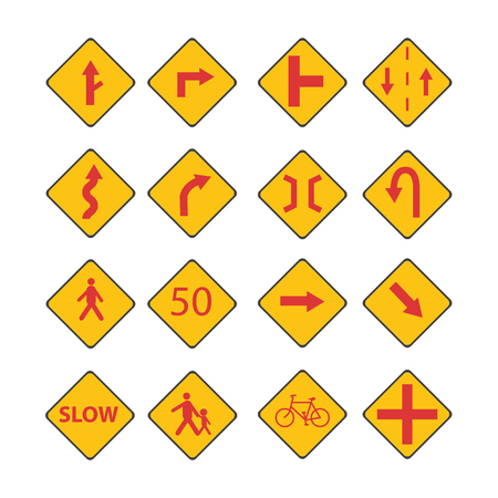 Set Traffic red signs vector with street sign isolated white background Illustration