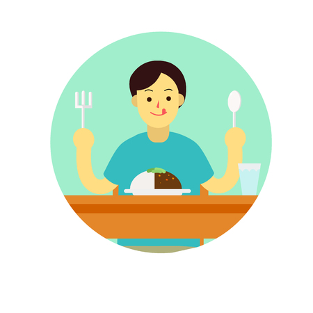 Young man wear private dress prepare to eat breakfast,curry,lunch,dinner with glass of water on table.flat sign cartoon design vector illustration Illustration