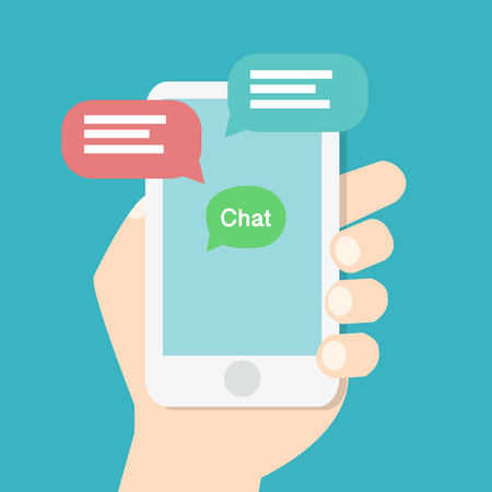 hand holding smart phone: Hand holding smart phone with chat application on screen and speech chat box,online chat concept. Modern graphic elements for websites.Flat design vector illustration Illustration