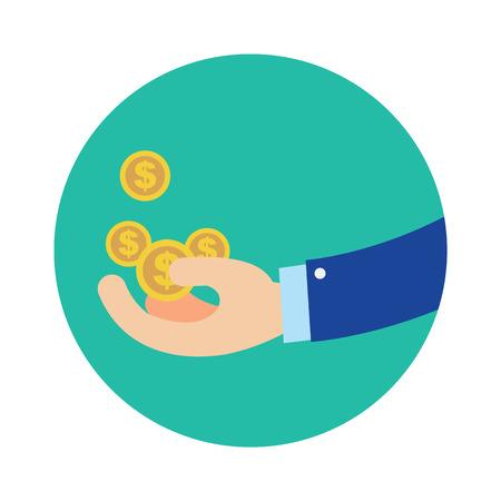 Mano plana negocio obtener monedas en el círculo azul vector illustration. Concepto de dinero obtener dinero