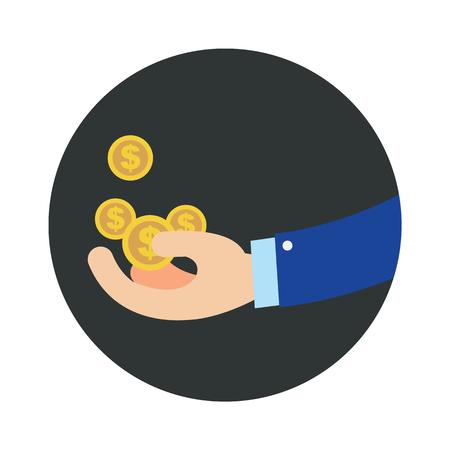 Mano plano negocio obtener monedas en círculo negro vector illustration. Concepto de dinero conseguir dinero