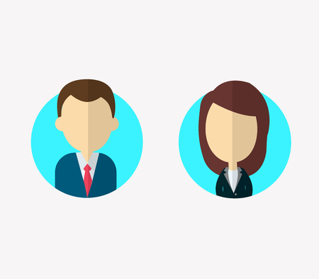 Flat businessman and businesswoman characters. Vector avatars profile no face.Vector portraits.