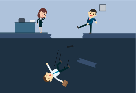 Businessman kicks an employee to abyss of office.Blackmail business concept vector illustration. Illustration