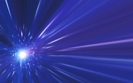 Abstract spacescape, speed of light and lens flare Stock Photo