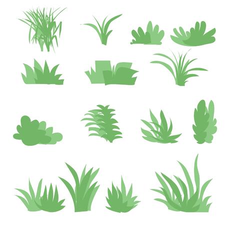 Vlakke grassen geplaatst vector reeks met geïsoleerde witte achtergrond wordt geplaatst die Stock Illustratie
