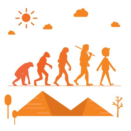 Human evolution. Silhouette progress growth development with pyramid vector illustration Illustration