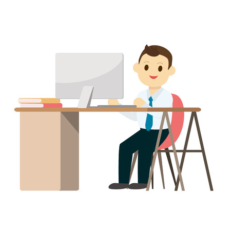 businessperson: Young business man working on desk with computer and isolated white background.Vector illustration.